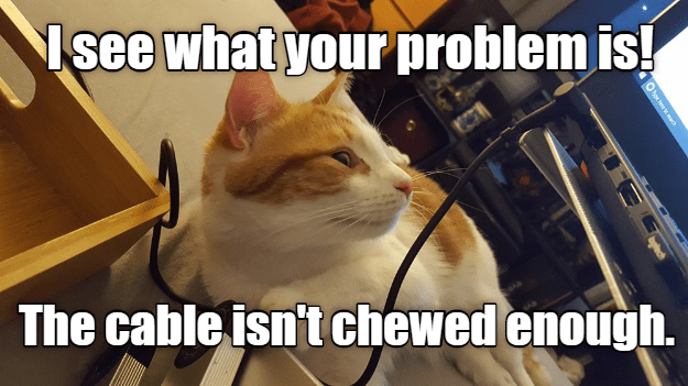 Cat - Isee what your problem is! The cable isn't chewed enough. O ch