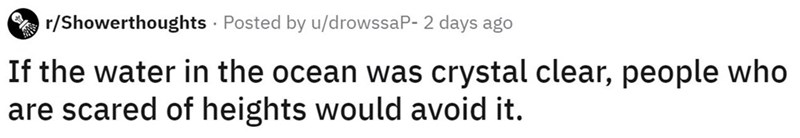 Text - r/Showerthoughts · Posted by u/drowssaP- 2 days ago If the water in the ocean was crystal clear, people who are scared of heights would avoid it.