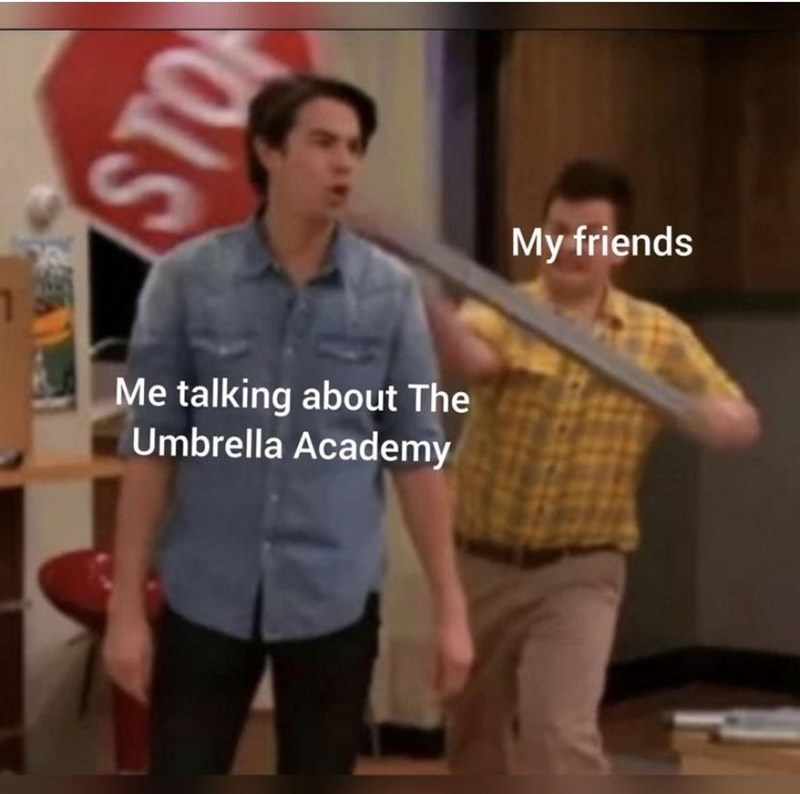 Shoulder - My friends Me talking about The Umbrella Academy STO