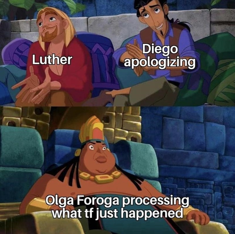 Animated cartoon - Diego apologizing Luther Olga Foroga processing what tf just happened