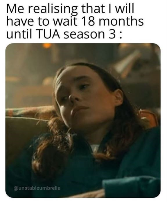 Text - Me realising that I will have to wait 18 months until TUA season 3: @unstableumbrella