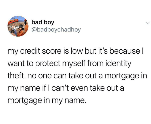 Text - bad boy @badboychadhoy my credit score is low but it's because I want to protect myself from identity theft. no one can take out a mortgage in my name if I can't even take out a mortgage in my name.