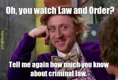 law and order meme - Facial expression - Oh, you watch Law and Order? Tell me again how much you know about criminal law. Memedroid