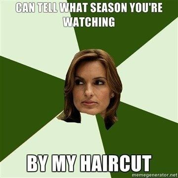 law and order meme - Green - CAN TELL WHAT SEASON YOU'RE WATCHING BY MY HAIRCUT memegenerator.net