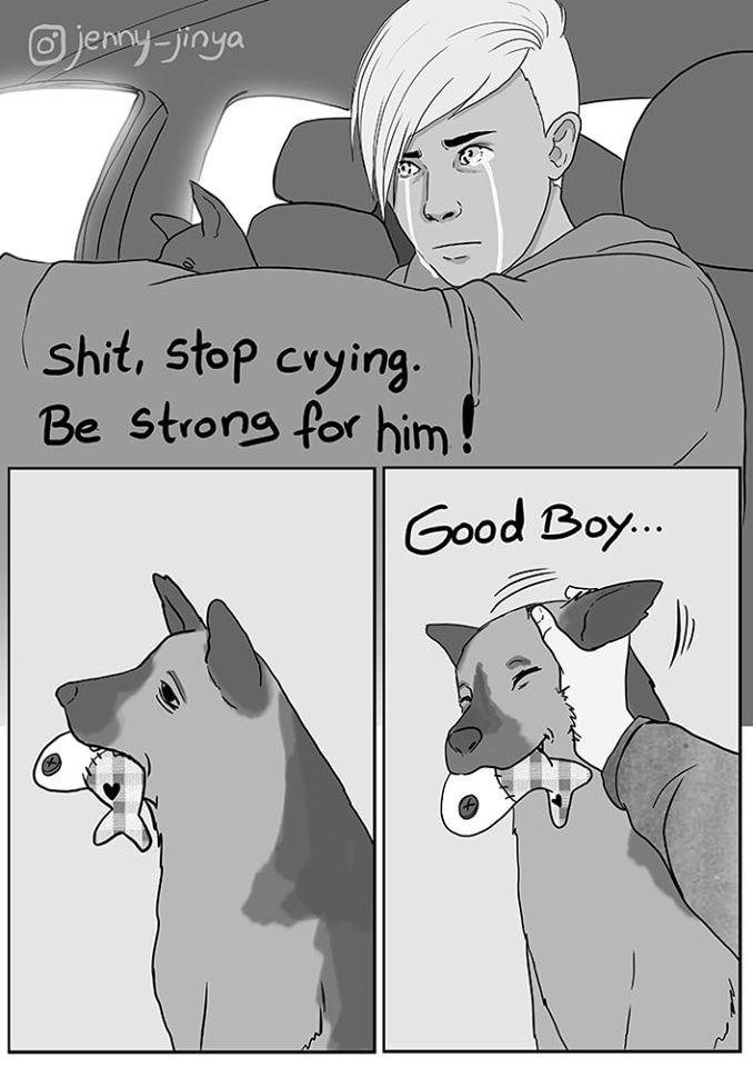 Cartoon - O jenny jinya shit, stop crying. Be strong for him! Good Boy..