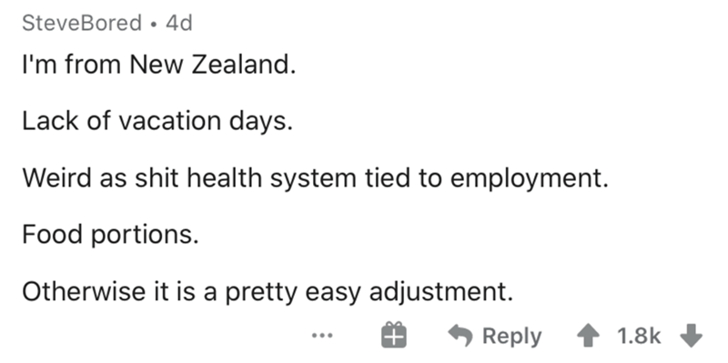Text - SteveBored • 4d I'm from New Zealand. Lack of vacation days. Weird as shit health system tied to employment. Food portions. Otherwise it is a pretty easy adjustment. Reply 1.8k ...