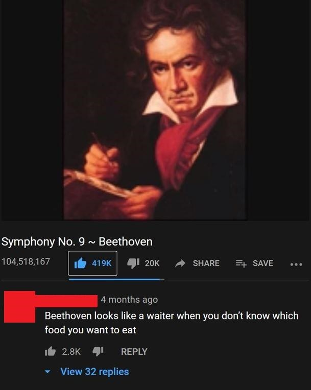 Text - Symphony No. 9 ~ Beethoven 104,518,167 419K 20K SHARE + SAVE 4 months ago Beethoven looks like a waiter when you don't know which food you want to eat 2.8K REPLY View 32 replies