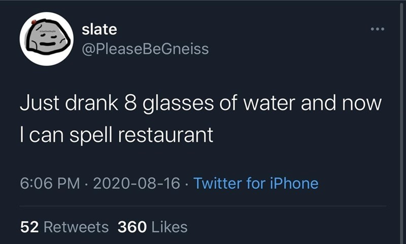 Text - slate @PleaseBeGneiss Just drank 8 glasses of water and now I can spell restaurant 6:06 PM · 2020-08-16 · Twitter for iPhone 52 Retweets 360 Likes