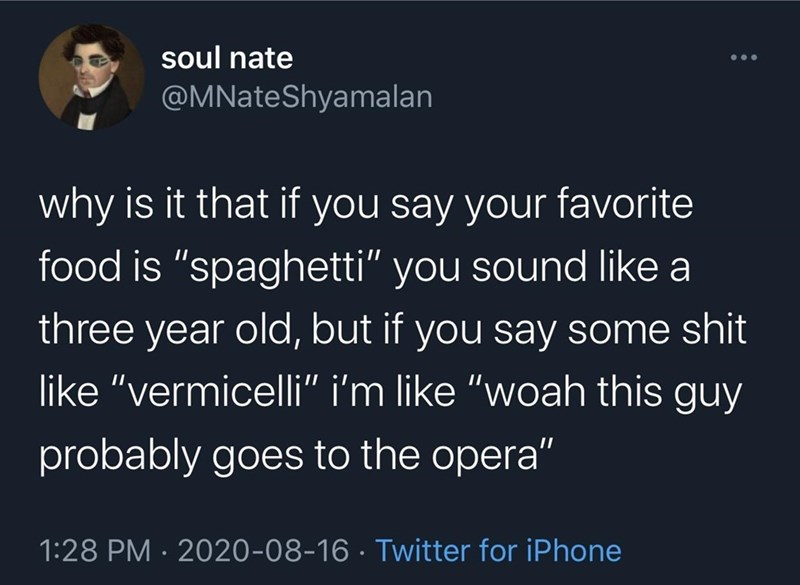 """Text - soul nate @MNateShyamalan ... why is it that if you say your favorite food is """"spaghetti"""" you sound like a three year old, but if you say some shit like """"vermicelli"""" i'm like """"woah this guy probably goes to the opera"""" 1:28 PM · 2020-08-16 · Twitter for iPhone"""