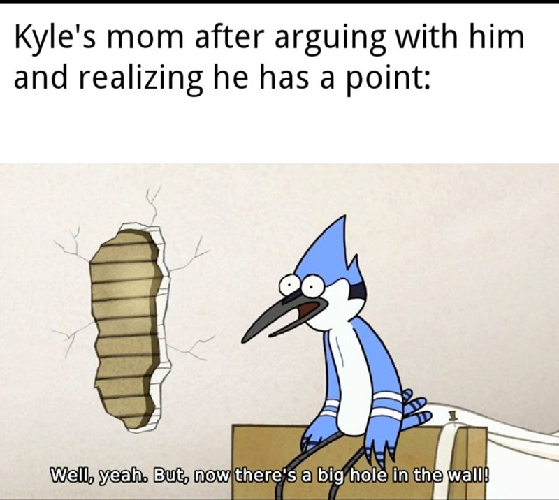 Cartoon - Kyle's mom after arguing with him and realizing he has a point: Well, yeah. But, now there's a big hole in the wall!