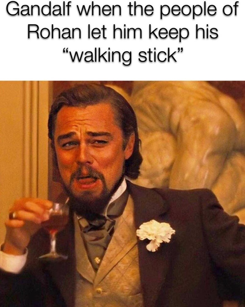 """Photo caption - Gandalf when the people of Rohan let him keep his """"walking stick"""""""