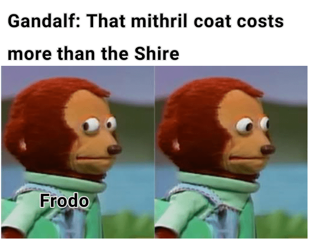 Animated cartoon - Gandalf: That mithril coat costs more than the Shire Frodo