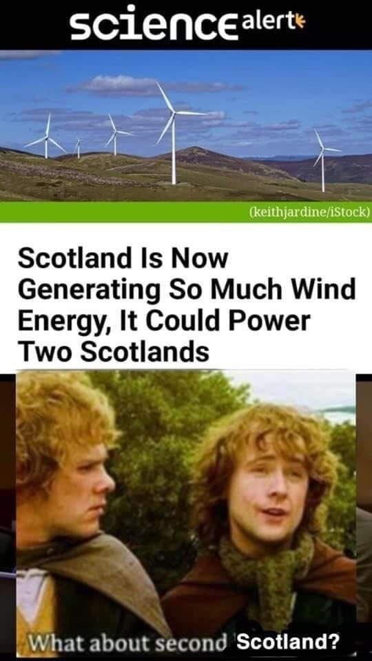 Wind farm - sciencealerte (keithjardine/iStock) Scotland Is Now Generating So Much Wind Energy, It Could Power Two Scotlands What about second Scotland?
