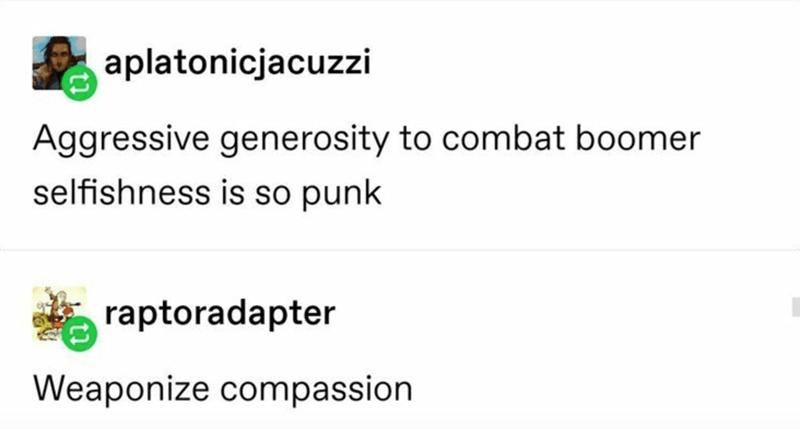 Text - aplatonicjacuzzi Aggressive generosity to combat boomer selfishness is so punk raptoradapter Weaponize compassion