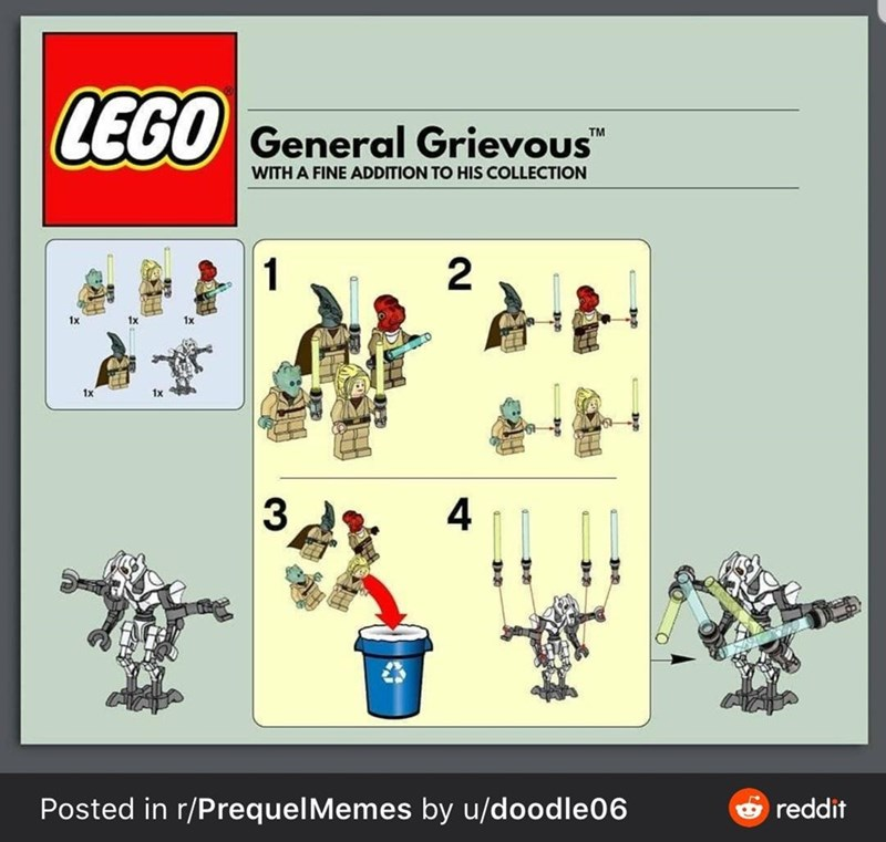 """Text - LEGO General Grievous"""" TM WITH A FINE ADDITION TO HIS COLLECTION 1 2 1x 1x 3 4 Posted in r/PrequelMemes by u/doodle06 O reddit"""