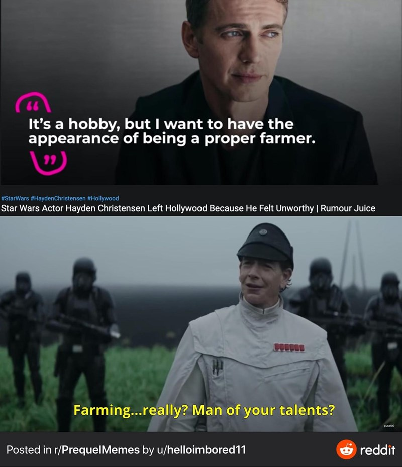 Photo caption - It's a hobby, but I want to have the appearance of being a proper farmer. #StarWars #HaydenChristensen #Hollywood Star Wars Actor Hayden Christensen Left Hollywood Because He Felt Unworthy   Rumour Juice Farming..really? Man of your talents? puset09 Posted in r/PrequelMemes by u/helloimbored11 O reddit