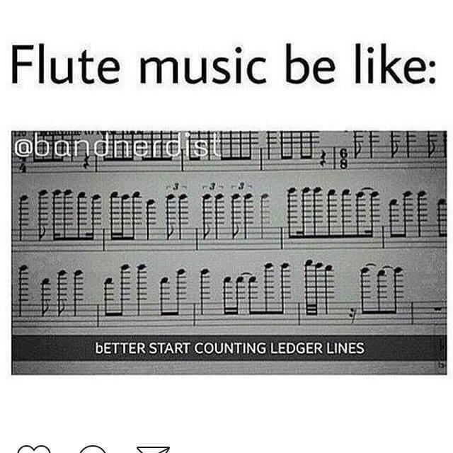 Text - Flute music be like: obandneidS BETTER START COUNTING LEDGER LINES