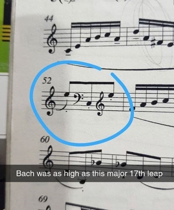 Text - 44 52 60 Bach was as high as this major 17th leap 69