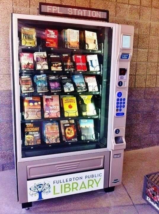 Vending machine - LEPI STATION PRIVATE TUM CLANCY COHEN LOWEL UENTO JURN LESCROART THEASUNE MNT FULLERTON PUBLIC LIBRARY 100 2000