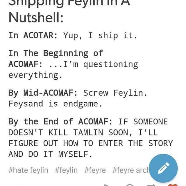 Text - pp Nutshell: In ACOTAR: Yup, I ship it. In The Beginning of ACOMAF: ...I'm questioning everything. By Mid-ACOMAF: Screw Feylin. Feysand is endgame. By the End of ACOMAF: IF SOMEONE DOESN'T KILL TAMLIN SOON, I'LL FIGURE OUT HOW TO ENTER THE STORY AND DO IT MYSELF. #hate feylin #feylin #feyre #feyre arch