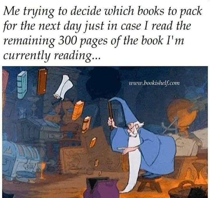 Cartoon - Me trying to decide which books to pack for the next day just in case I read the remaining 300 pages of the book I'm currently reading... www.bookishelf.com