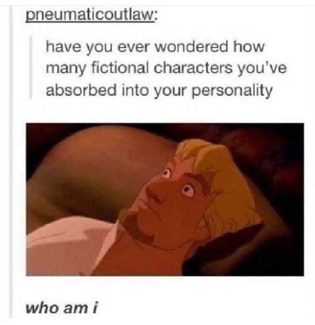 Text - pneumaticoutlaw: have you ever wondered how many fictional characters you've absorbed into your personality who am i