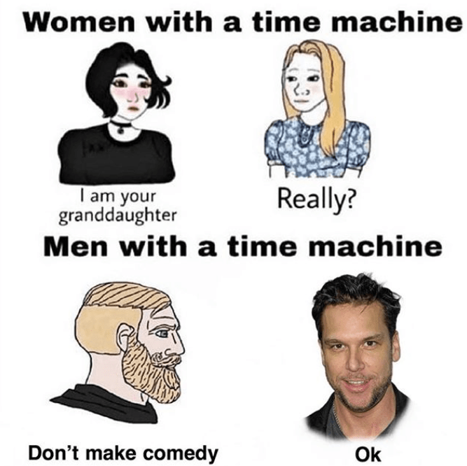 funny time machine dane cook stop from pursuing comedy | Wojak comic Women with a time machine I am your granddaughter Really? Men with a time machine Don't make comedy ok