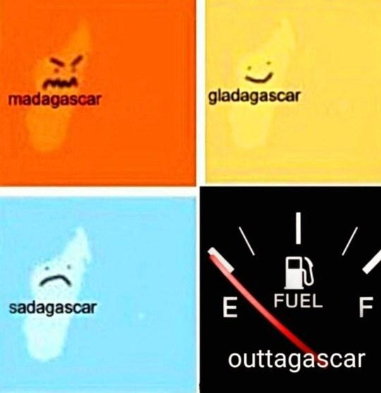 Text - madagascar gladagascar sadagascar E FUEL F outtagascar