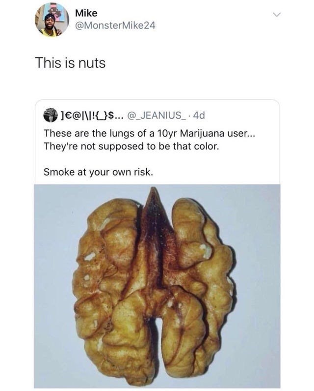 Organ - Mike @MonsterMike24 This is nuts ]€@I\I!{_}$... @_JEANIUS_ 4d These are the lungs of a 10yr Marijuana user... They're not supposed to be that color. Smoke at your own risk.