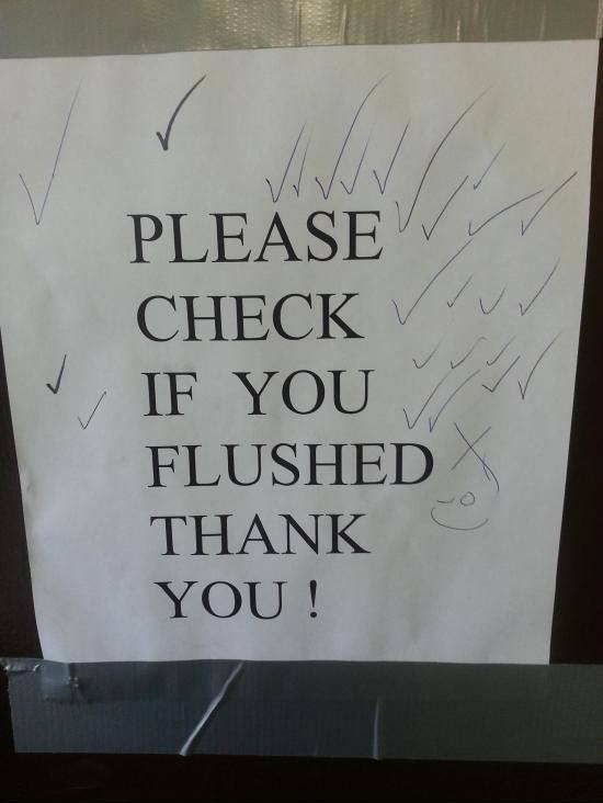 Text - PLEASE CHECK IF YOU FLUSHED THANK YOU!