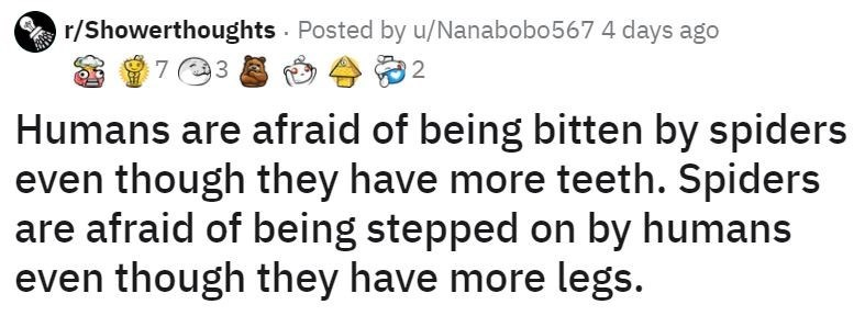 Text - r/Showerthoughts Posted by u/Nanabobo567 4 days ago Humans are afraid of being bitten by spiders even though they have more teeth. Spiders are afraid of being stepped on by humans even though they have more legs.