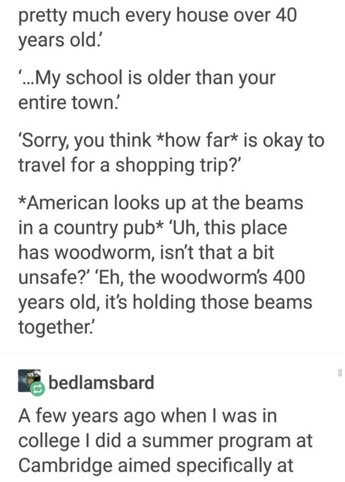 Text - pretty much every house over 40 years old. .My school is older than your entire town. 'Sorry, you think *how far* is okay to travel for a shopping trip?' *American looks up at the beams in a country pub* °Uh, this place has woodworm, isn't that a bit unsafe?' 'Eh, the woodworm's 400 years old, it's holding those beams together! bedlamsbard A few years ago when I was in college I did a summer program at Cambridge aimed specifically at