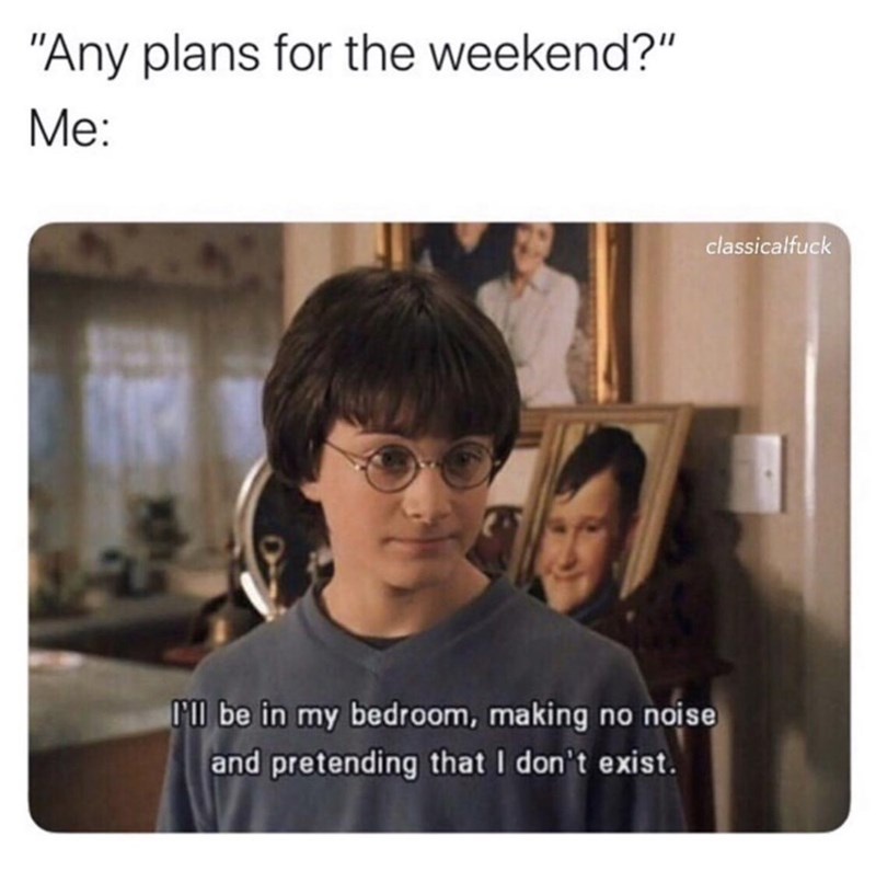 "Funny meme that reads, ""'Any plans for the weekend? Me: ..."" above a still from Harry Potter and the Sorcerer's Stone where Harry says, ""I'll be in my bedroom, making no noise and pretending that I don't exist"""