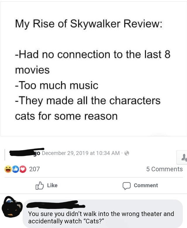 "Text - My Rise of Skywalker Review: -Had no connection to the last 8 movies -Too much music -They made all the characters cats for some reason Jo December 29, 2019 at 10:34 AM O 207 5 Comments O Like Comment You sure you didn't walk into the wrong theater and accidentally watch ""Cats?"""