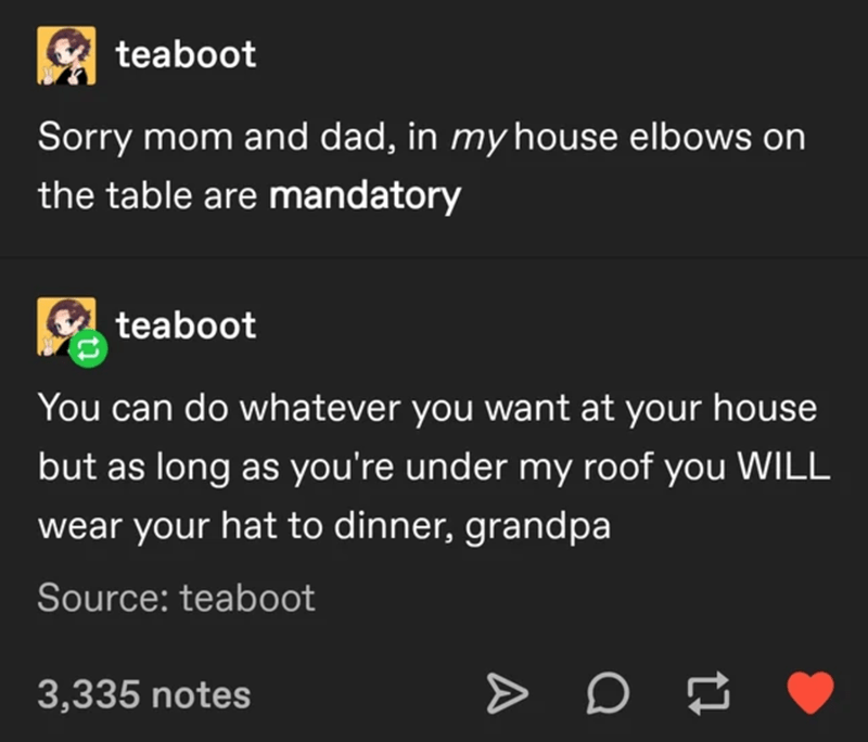 Text - E teaboot Sorry mom and dad, in my house elbows on the table are mandatory teaboot You can do whatever you want at your house but as long as you're under my roof you WILL wear your hat to dinner, grandpa Source: teaboot 3,335 notes