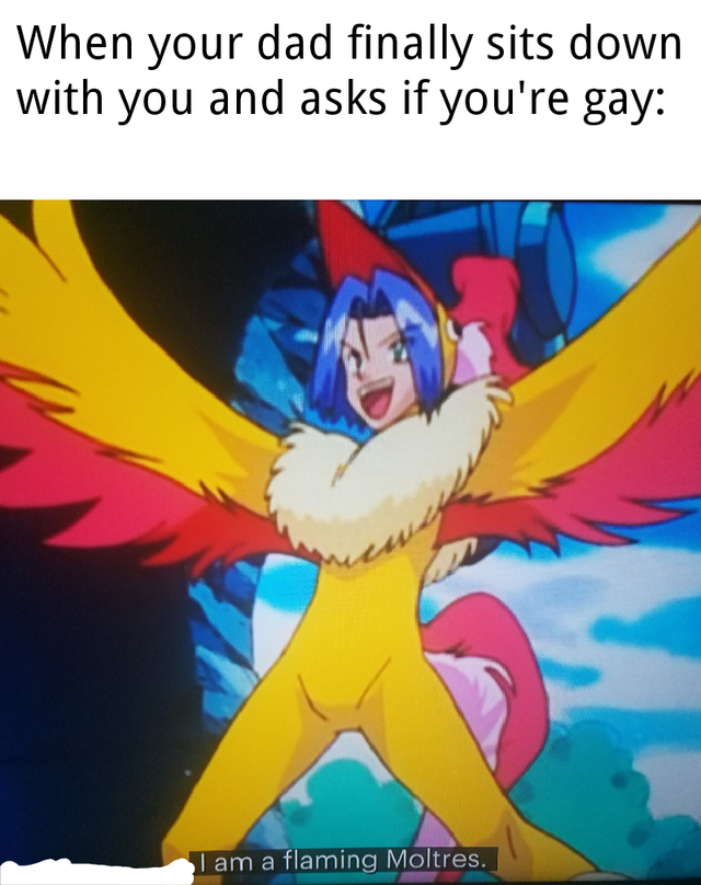 Cartoon - When your dad finally sits down with you and asks if you're gay: wey I am a flaming Moltres.