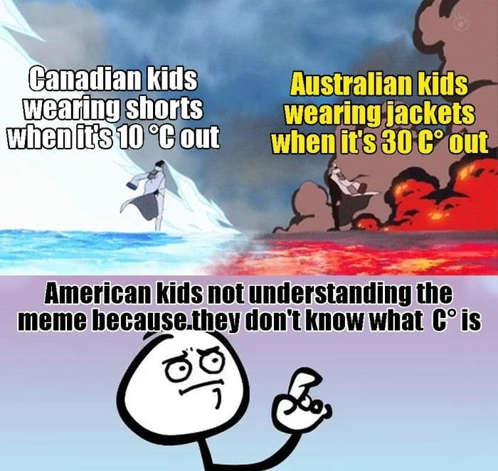 Cartoon - Canadian kids wearing shorts when it's 10 °C out Australian kids wearing jackets when it's 30 C° out American kids not understanding the meme because.they don't know what C° is