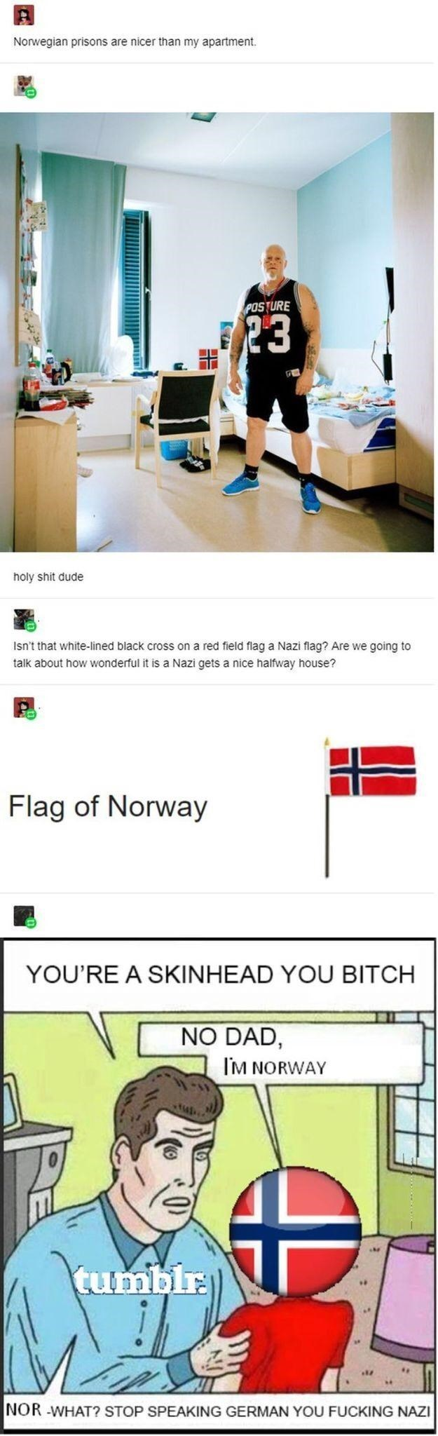 Text - Norwegian prisons are nicer than my apartment. POSTURE 23 holy shit dude Isn't that white-lined black cross on a red field flag a Nazi flag? Are we going to talk about how wonderful it is a Nazi gets a nice halfway house? Flag of Norway YOU'RE A SKINHEAD YOU BITCH NO DAD, I'M NORWAY tumblr. NOR -WHAT? STOP SPEAKING GERMAN YOU FUCKING NAZI