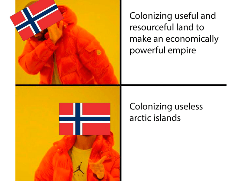 Outerwear - Colonizing useful and resourceful land to make an economically powerful empire Colonizing useless arctic islands all人