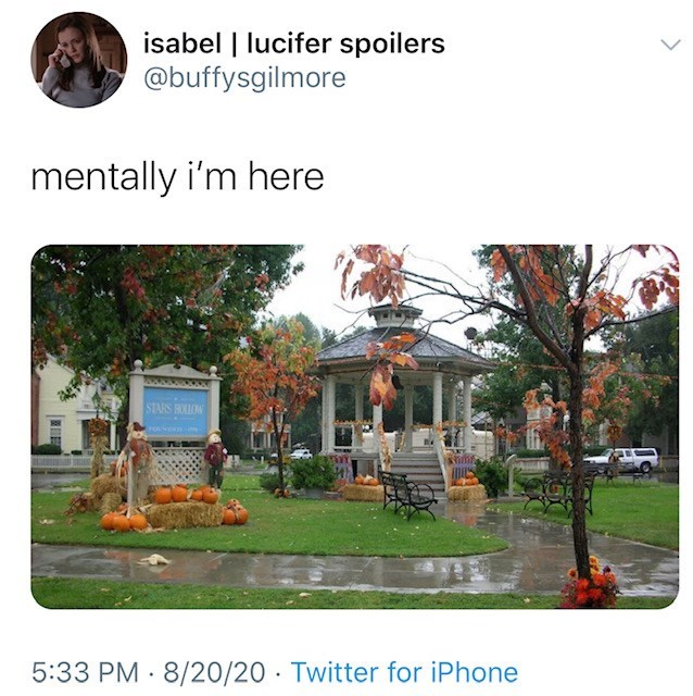 Property - isabel   lucifer spoilers @buffysgilmore mentally i'm here STARS BOLOW FOUNDD 5:33 PM 8/20/20 · Twitter for iPhone