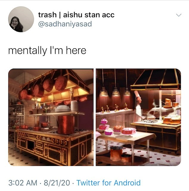 Product - trash   aishu stan acc @sadhaniyasad mentally l'm here 3:02 AM - 8/21/20 · Twitter for Android
