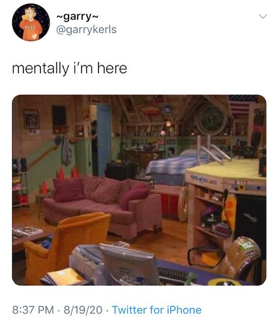 Product - ~garry- @garrykerls mentally i'm here 8:37 PM 8/19/20 · Twitter for iPhone >
