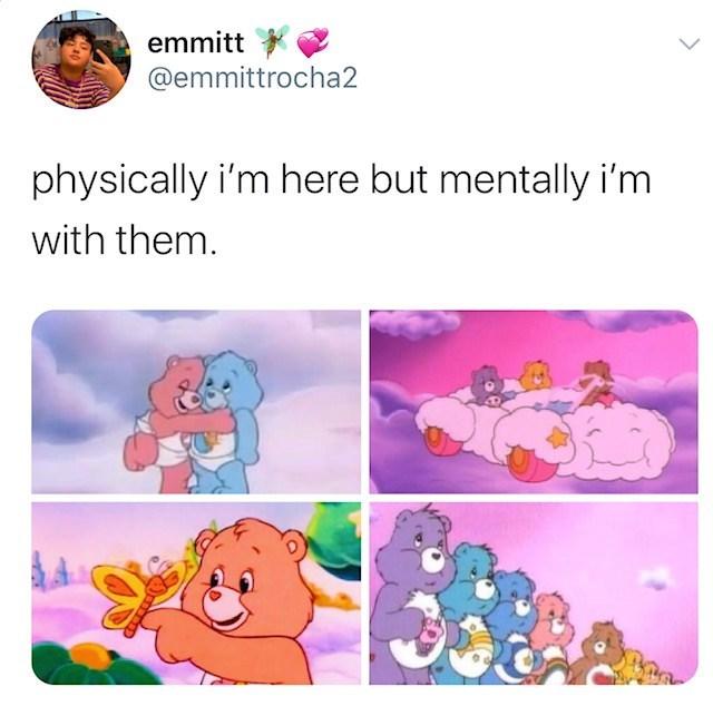 Text - emmitt @emmittrocha2 physically i'm here but mentally i'm with them.