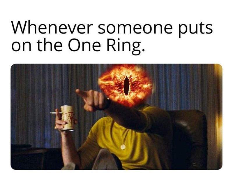 Text - Whenever someone puts on the One Ring.
