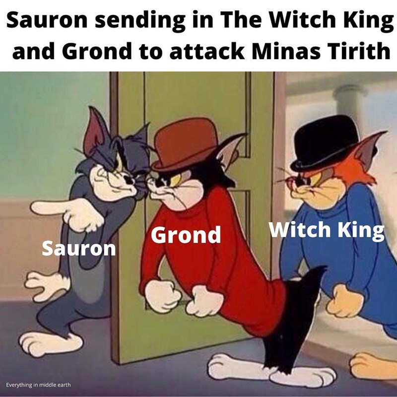 Cartoon - Sauron sending in The Witch King and Grond to attack Minas Tirith Grond Witch King Sauron Everything in middle earth