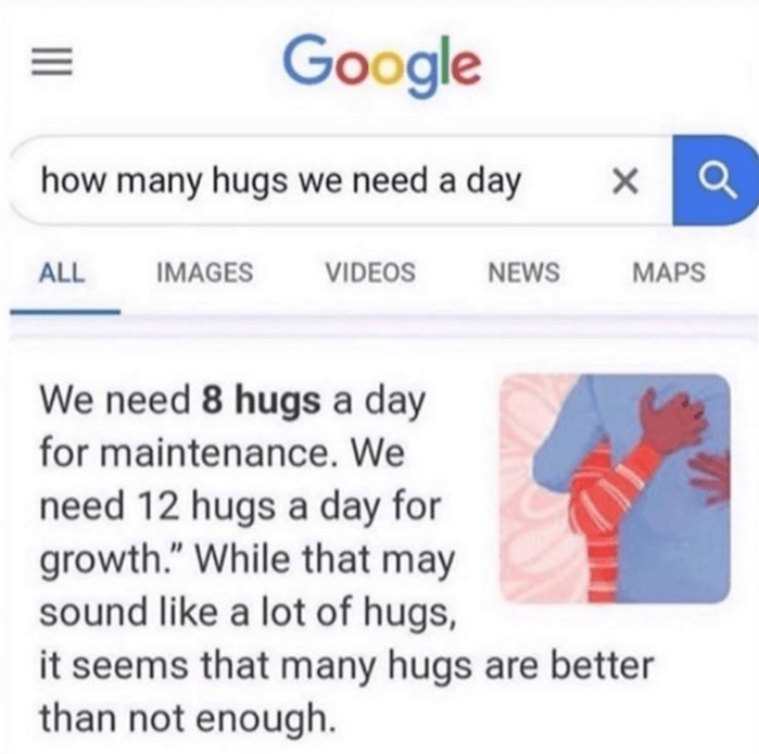 funny meme about how many hugs we need in a day