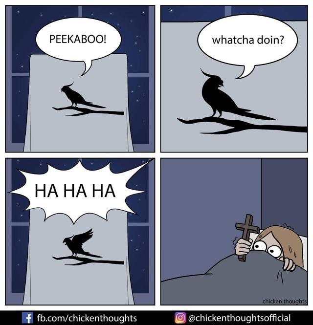 Cartoon - РЕЕКАВОО! whatcha doin? НА НА НА chicken thoughts f fb.com/chickenthoughts O@chickenthoughtsofficial