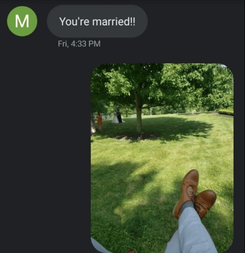 Text - M You're married!! Fri, 4:33 PM