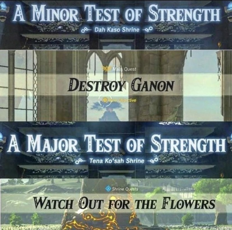 Font - A MINOR TEST OF STRENGTH oDah Kaso Shrine o Mala Quest ĐESTROY GANON tive A MAJOR TEST OF STRENGTH Tena Ko'sah Shrine Shrine Quests WATCH OUT FOR THE FLOWERS