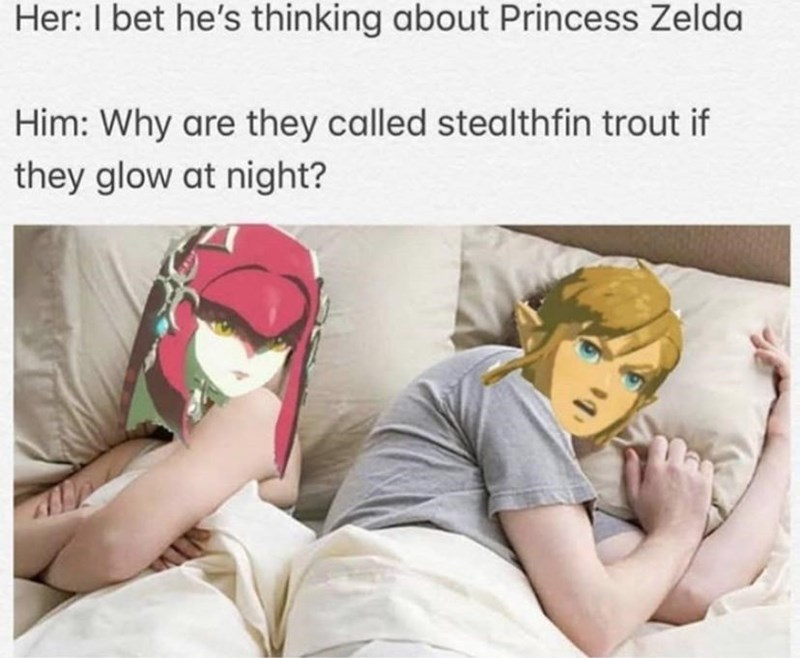 Skin - Her: I bet he's thinking about Princess Zelda Him: Why are they called stealthfin trout if they glow at night?